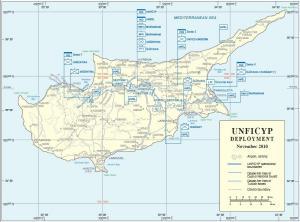 Карта Кипра с размещением Миротворческих войск Организации Объединенных Наций на Кипре