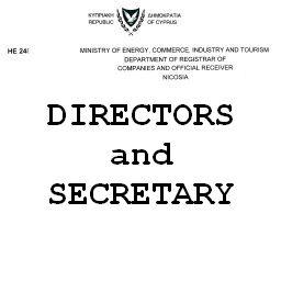 Сертификат директоров и секретаря кипрской компании Certificate of directors and secretary