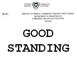 Сертификат о состоянии кипрской компании Good Standing