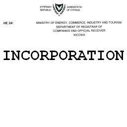 Сертификат инкорпорации регистрации кипрской компании Certificate of incorporation