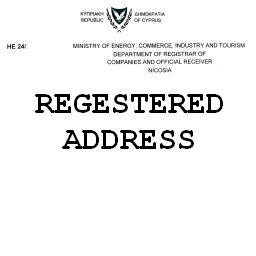 Сертификат регистрационного адреса кипрской компании Certificate of registered address