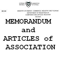 Устав и Учредительный договор кипрской компании Memorandum and Articles of association