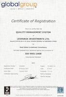 Международный сертификат качества ISO 9001:2008 компании Leverage Investments ltd