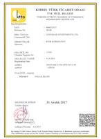 Сертификат о регистрация компании Leverage Investments Ltd в Торгово-Промышленной Палате ТРСК №17105
