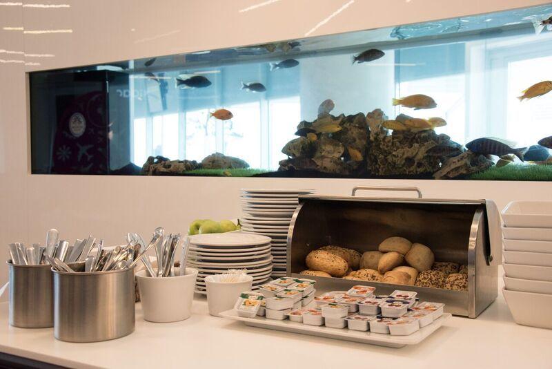 Аквариум в Lounge Aspire бизнес-класса в аэропорту Ларнака