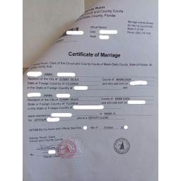 свидетельство о браке США